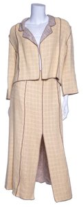Chanel Chanel Pale Yellow 2 PC Knit Tweed Dress & Jacket