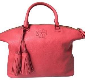 Tory Burch Leather Tassels Like New Satchel in Coral