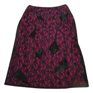 Matthew Williamson Beaded Lace Skirt Pink and black