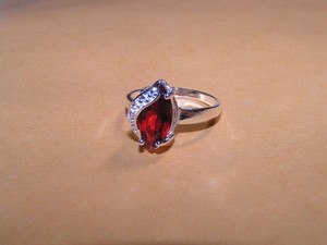 Reduced! Red & White Zircon Fashion Ring Free Shipping