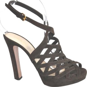 Prada Platform Cage Suede Brown Sandals