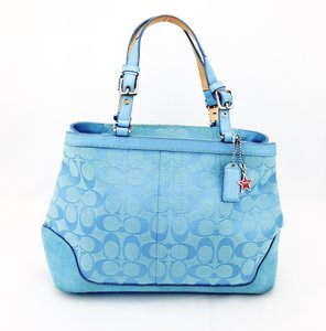 Coach Leather Canvas Suede Satchel in Blue