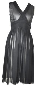 Banana Republic short dress Black Sheer Silk Pleated Frayed Detail on Tradesy
