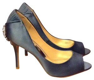 Badgley Mischka Satin Bling Blue Pumps