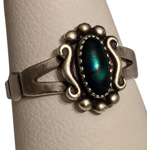 Black Opal Cabochon Sterling Silver 925 Ring