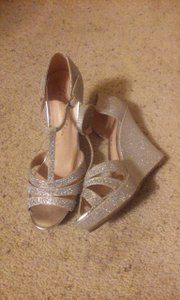 De Blossom Collection Sparkles Glitter Wedge Strap Wedding Shoes