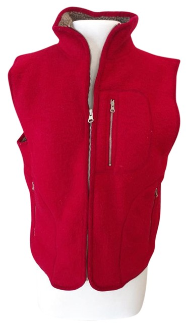 Item - Red Plush Vest with Brown Sherpa Lining Jacket Size 6 (S)