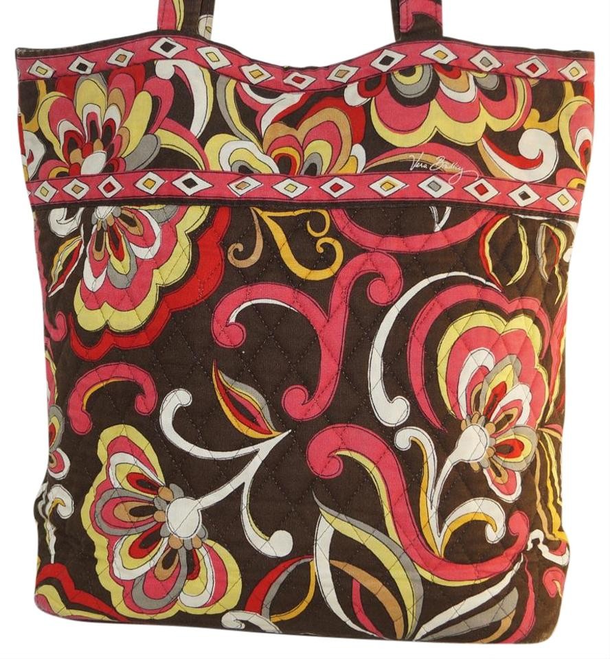 Vera bradley fall colors floral flowers roomy purse shoulder puccini vera bradley tote in puccini brown red yellow mightylinksfo