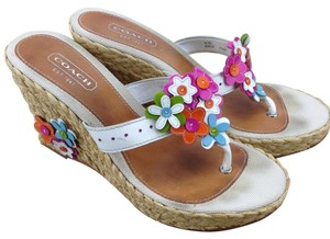 Coach Patent Jesica Straw Sandals Flowers White Wedges