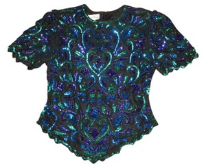 Laurence Kazar Cocktail Evening Vintage Top Black Purple Green Aqua sequins