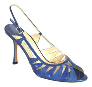 Jimmy Choo Leather Suede Blue Sandals