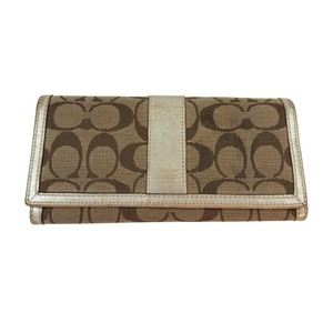 Coach Signature Jacquard & Metallic Leather Wallet