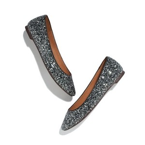 Madewell Glitter Sequin Multi Black Silver Flats