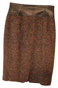 Lafayette 148 New York Skirt Brown tweed with Brown Leather