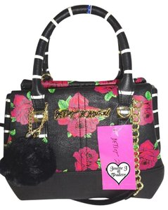 Betsey Johnson Small Cross Body Satchel in black/pink roses