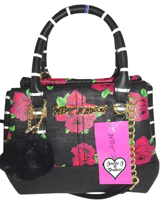 Item - Floral Striped Triple Entry/Cross Body/ Black/Pink Roses Faux Leather Satchel