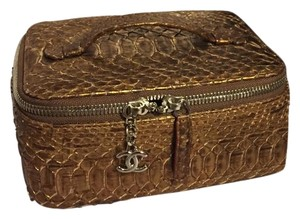 Chanel Jewelry Case Python Cc Brown Clutch
