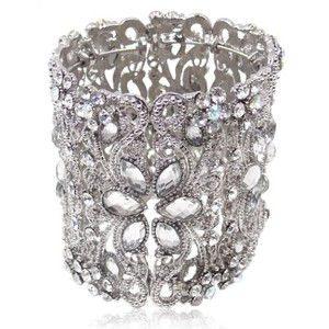 Ever Faith(r) Bridal Silver-tone Teardrop Flower Clear Austrian Crystal Wide Bracelet