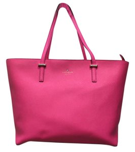 Kate Spade Leather Tote in Hot Pink