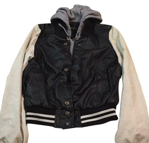 Therapy Black and white Leather Jacket