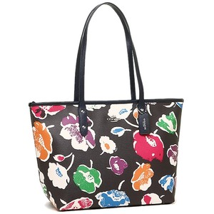 Coach Zip Top Floral Leather Rare Tote in black