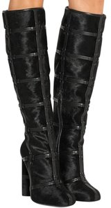 Tom Ford Patchwork Knee High Calf Hair black Boots