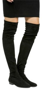 Robert Clergerie Stretch Over The Knee Suede Flat Black Boots