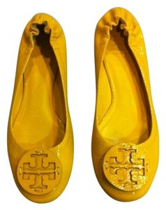 Tory Burch Ballet Reva Resort Wear Yellow Patent Leather Flats