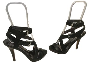 Coach Platform Stacked Wood Heel Black strappy leather 2 silver metal buckle Sandals