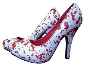 Other Bloody Bloody Halloween Sexy Zombie White & Red Pumps