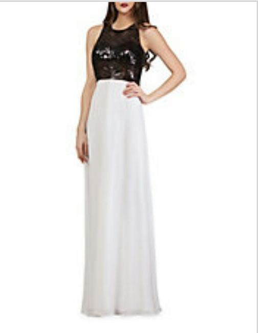 JS Collections Black and White Gown with Sequin Bodice Long Formal Dress Size 8 (M) JS Collections Black and White Gown with Sequin Bodice Long Formal Dress Size 8 (M) Image 3