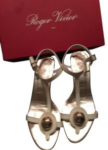 Roger Vivier Gold Kitten White Sandals