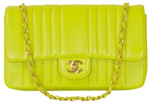 Chanel Lambskin Quilted Lime Shoulder Bag