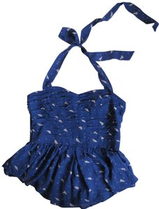 Hype Peplum Blue Halter Top