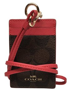 Coach Coach Signature Brown Red Lanyard ID Badge Card Holder F63274 NWT