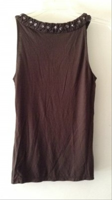 Ann Taylor Braided Silver Beaded Neckline Top brown