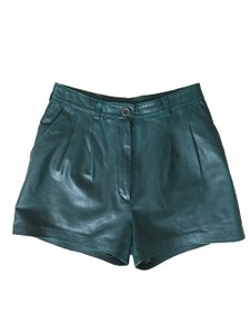Reformation Green Leather Leather Dress Shorts Marine