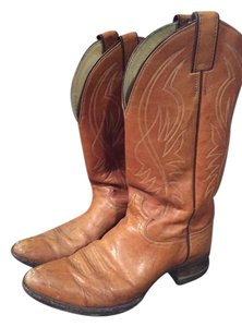 Justin Boot Cowboy Party Leather Chesnut Boots