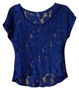 Mossimo Supply Co. Lace Crochet Crop Date Top Blue