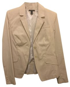 Tommy Hilfiger Tan Unique Asymmetrical nude & white pinstripe Blazer