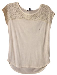 American Eagle Outfitters Lace Chiffon Date Night Yoke Top Cream