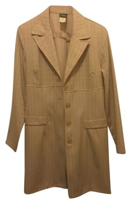 My Michelle Dress Long Blazer Yellow Tan Sholderpads Trench Coat