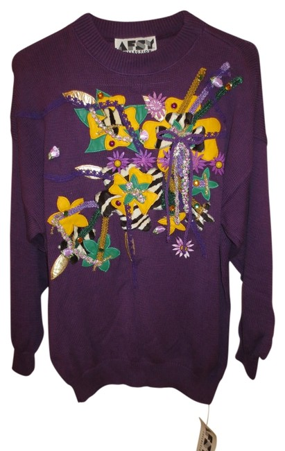 Preload https://item2.tradesy.com/images/purplemulti-cotton-sweaterpullover-size-os-one-size-1972911-0-0.jpg?width=400&height=650