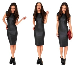 A-Body Faux-leather Bodycon Dress