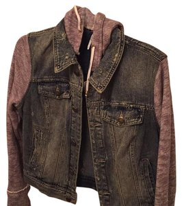 Free People Denim/grey Womens Jean Jacket