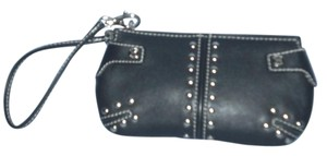 Michael Kors BLACK LEATHER WALLET/WRISTLET WITH SILVER STUDS