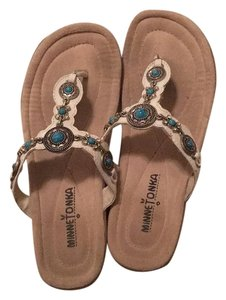 Minnetonka White with turquoise jewels Sandals
