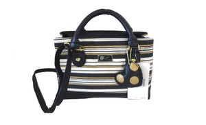 Betsey Johnson Triple Entry Striped Satchel in black/bone/gold