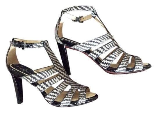 Cole Haan Black and Tan Cage Sandals