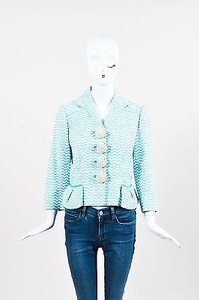 Louis Vuitton Louis Vuitton Blue White Cotton Blend Wavy Stripe Rosette Button Blazer
